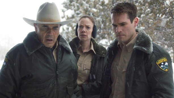 "(Left to right) Robert Forster, Riki Lindhome, and Jim Cummings in ""The Wolf of Snow Hollow."" - PHOTO COURTESY OF ORION PICTURES"