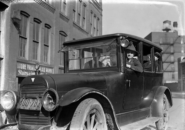 James Noey was in the front passenger seat of this Hudson taxicab on Oct. 20, 1920, when the bullet from a Fairport officer's gun was fired through the windshield and struck him in the head. - THE FAIRPORT HERALD