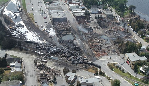 In 2013, an unattended train carrying crude oil derailed and exploded in the tiny Quebec town of Lac-Megantic. The resulting fire killed 47 people and consumed 30 buildings. - COURTESTY TRANSPORTATION SAFETY BOARD OF CANADA