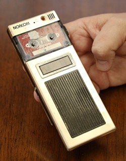 """Defense attorney Joe Damelio calls his antiquated Norcom cassette recorder his """"security blanket."""" He doesn't trust digital recorders. - PHOTO BY MAX SCHULTE"""
