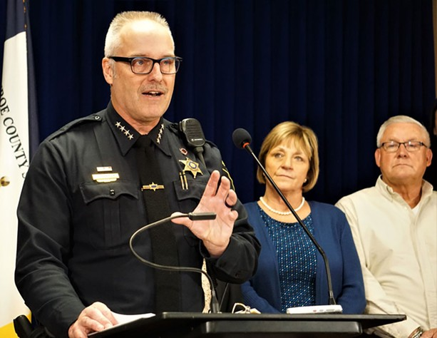 Monroe County Sheriff Todd Baxter discusses opioid overdose data for 2019 during a March 5, 2020, news conference. - PHOTO BY GINO FANELLI