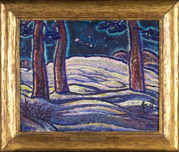 "Harold Weston's 1922 painting, ""Three Trees, Winter."" - PHOTO COURTESY THE MEMORIAL ART GALLERY"
