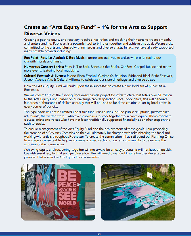 """The excerpt from the 2021 State of the City booklet issued by the administration of Mayor Lovely Warren on Thursday, Jan. 7, 2021, that details the """"Arts Equity Fund."""" - CITY OF ROCHESTER"""
