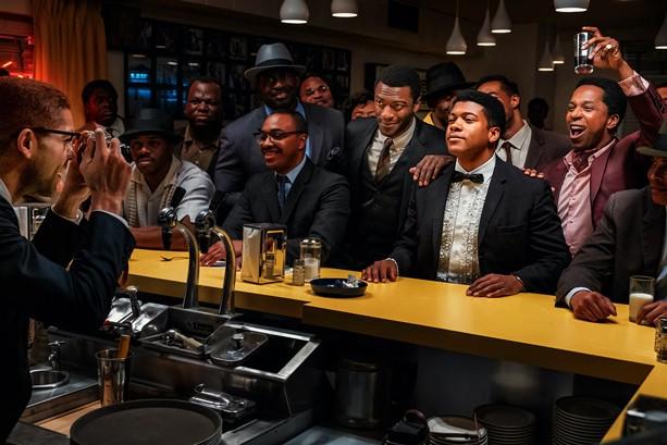 "Kingsley Ben-Adir, Aldis Hodge, Eli Goree, Leslie Odom Jr., and company in ""One Night in Miami."" - PHOTO COURTESY AMAZON STUDIOS"