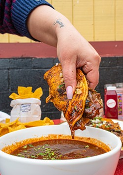 """The Saucey Chef's """"Tacos 4 Lovers"""" are beef queso tacos, served with a dipping consommé. - PHOTO BY JACOB WALSH"""