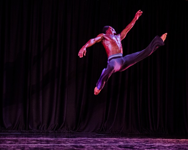 "A dancer with Garth Fagan Dance during a 2018 performance which included ""In Memoriam"" and excerpts from ""The North Star."" - PHOTO BY JOSH SAUNDERS"
