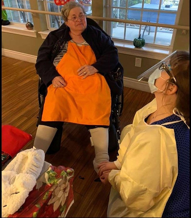Mare Millow's mother, Kim Millow, a resident at the Green House home in Fairport, talks with nurse leader guide Polly Boland. - PHOTO PROVIDED BY ST. JOHN'S PENFIELD HOMES