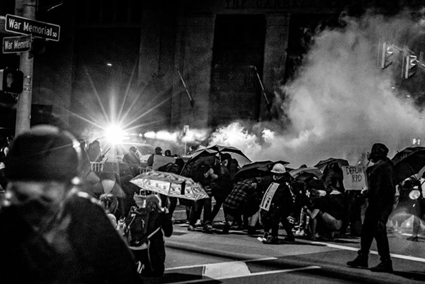 """Hamburg-based artist Carmen Cibella's photograph, titled """"Militarized Police Oppression in War Memorial Square,"""" is a documentation of the Sept. 2020 protests after the news of Daniel Prude's death was released to the public. - PHOTO PROVIDED"""