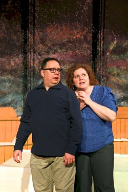 "Real-life married couple Jeff and Stephanie Suida star as Roland and Marianne in ""Constellations."" - PHOTO BY ANNETTE DRAGON"