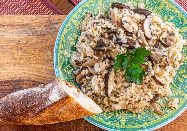 Creamy cannabutter & mushroom risotto with white wine. - PHOTO BY JACOB WALSH