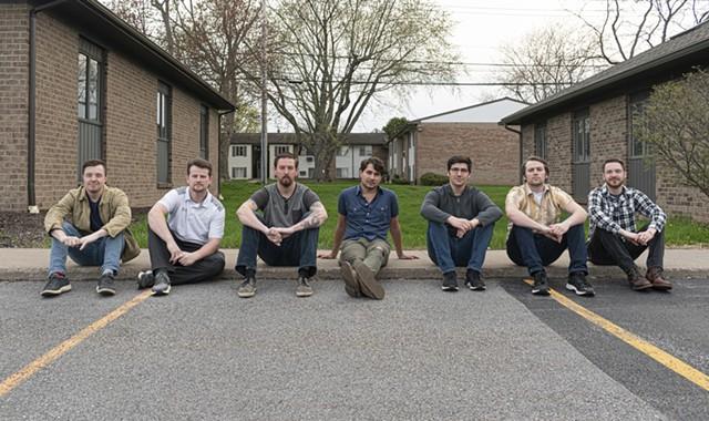 FRAN is (left to right) Joe Stehle, Clark Hadley, Ryan Longwell, Jon Lewis, Eric Kearney, Austin Radford, and Mark Bamann. - PHOTO BY JACOB WALSH