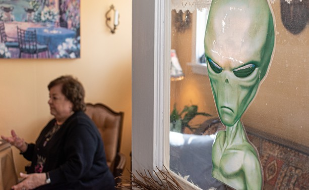 An alien cutout adorns the front door to Stringfellow's house. - PHOTO BY JACOB WALSH