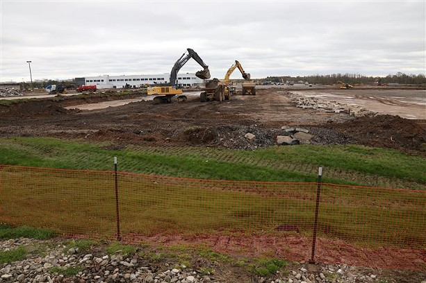 Construction on an Amazon warehouse and distribution center on Manitou Road in Gates was under way in April 2021. - PHOTO BY MAX SCHULTE