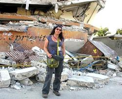 Mandalit del Barco in Haiti in 2010, after the earthquake. - PHOTO PROVIDED