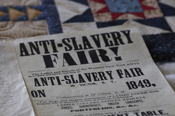 A replica printing of an Anti-Slavery Fair poster from 1849 from the town of Victor. - PHOTO BY MAX SCHULTE