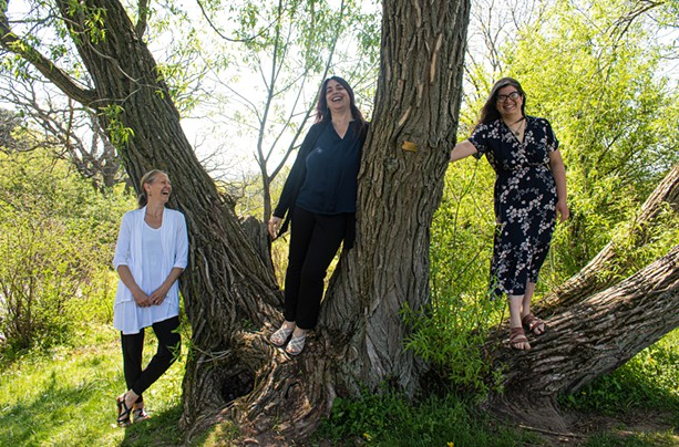 """From left to right, Lynne Boucher, Laura Lentz, and Mona Seghatoleslami. Each will play a role in the June 6th interactive online performance """"Tuning Meditation."""" - PHOTO BY JACOB WALSH"""