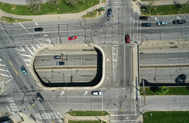The north section of the Inner Loop. Cumberland Street is at the top, with North Clinton Avenue on the left, and Joseph Avenue on the right. - PHOTO BY MAX SCHULTE