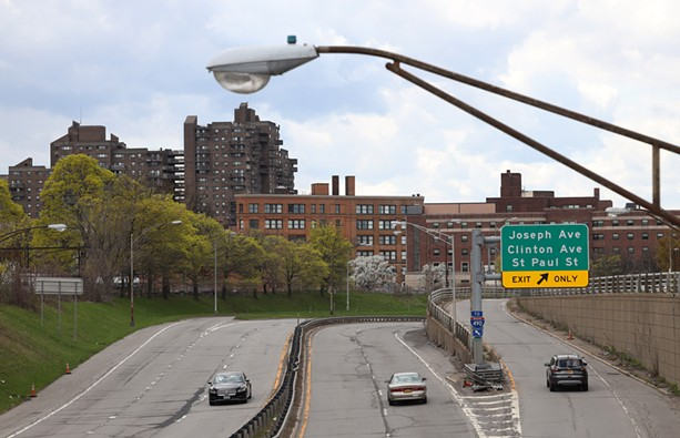 The Inner Loop looking west from North Street to Joseph Avenue in Rochester. - PHOTO BY MAX SCHULTE