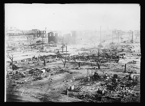 The ruins of the Greenwood District in Tulsa, after a mob attacked the predominantly Black community in 1921. - LIBRARY OF CONGRESS
