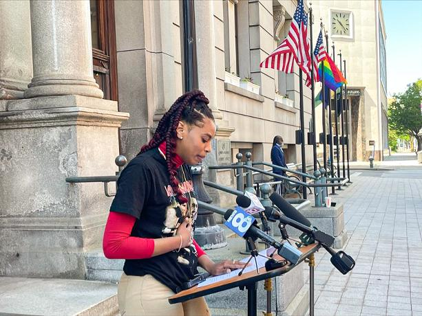 LaKaya Sinclair, who accused Monroe County Legislator Ernest Flagler-Mitchell of sexual harassment, calls for him to resign amid a county Ethics Board finding that his behavior was inappropriate. - PHOTO BY REBECCA RAFFERTY