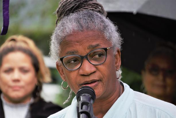 """Former city school board president Shirley Thompson said the women who gathered Friday in support of LaKaya Sinclair said they were shocked, disgusted, and angry """"for what Ernest Flagler-Mitchell put you through."""" - PHOTO BY GINO FANELLI"""