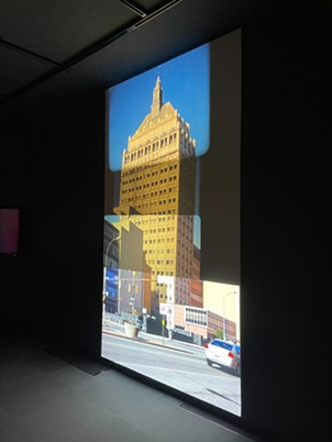 """Nelson's looping film and video installation """"End of Empire"""" (2014) leaves viewers feeling as though they're seeing the object through four different time periods at once. - PHOTO BY REBECCA RAFFERTY"""