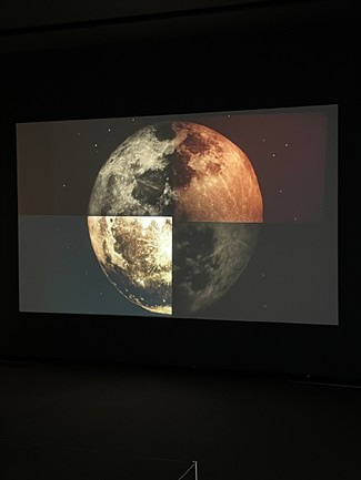"""""""Moon"""" (2015), looping film and video installation at the Memorial Art Gallery, by Tara Merenda Nelson. - PHOTO BY REBECCA RAFFERTY"""