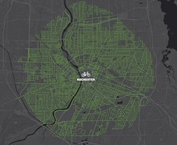 A map produced by Reconnect Rochester showing how far someone can get by bike in 20 minutes within the city of Rochester. - IMAGE PROVIDED BY RECONNECT ROCHESTER