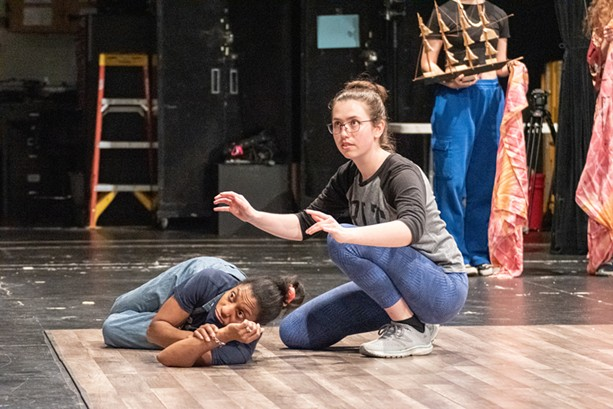 """Tamara Chapman (left) and Eliza McDaniel rehearse a scene from Rochester Community Players' """"The Tempest."""" - PHOTO BY JACOB WALSH"""