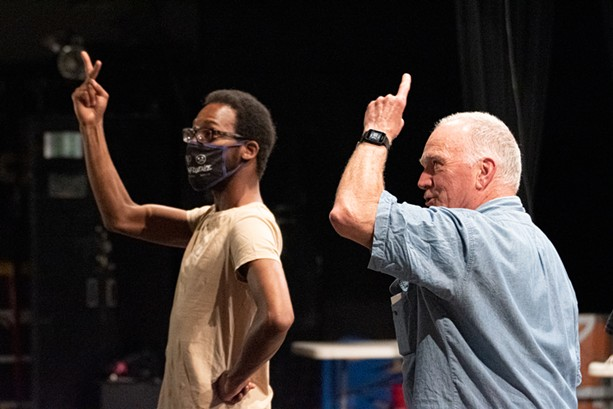 Malik Paris and Peter Haggerty play the signing Prospero and speaking Prospero, respectively. - PHOTO BY JACOB WALSH