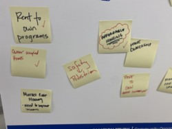 Messages from attendees to Inner Loop North public input session. - PHOTO BY JAMES BROWN