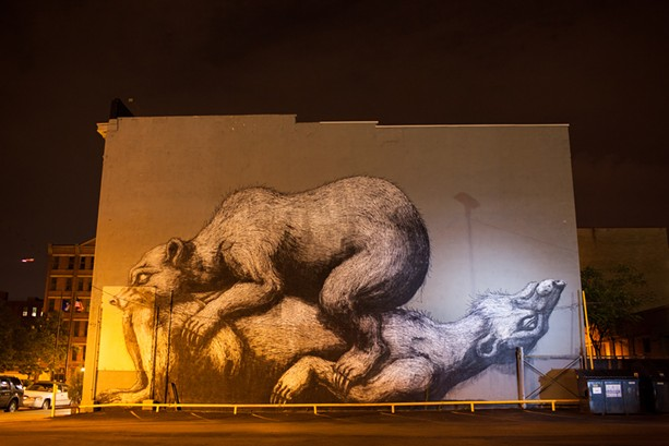 """Belgian artist ROA painted a much-maligned mural, """"Sleeping bears,"""" on St. Paul Street in 2021. The mural was vandalized in July 2021. - PHOTO COURTESY OF WALL\THERAPY"""
