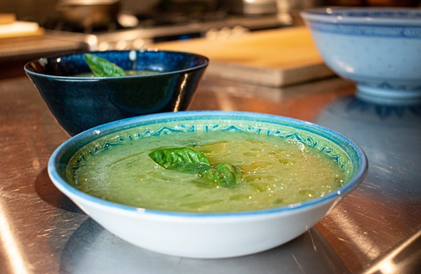 Sweet and herby, this chilled melon and basil soup is made with honeydew, limes, olive oil, and basil. - PHOTO BY JACOB WALSH