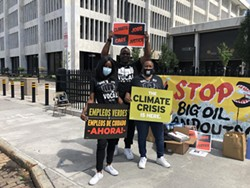 Left to right: Breyana Clark, Chaka Moxley and Kim Smith at a rally in front of the Federal Office Building on State Street on Thursday. - PHOTO COURTESY RANDY GORBMAN / WXXI NEWS