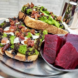 Open Face's Mashed Pea sandwich is served hot and open with melted Gorgonzola, balsamic glaze, and crumbly bacon. - PHOTO PROVIDED