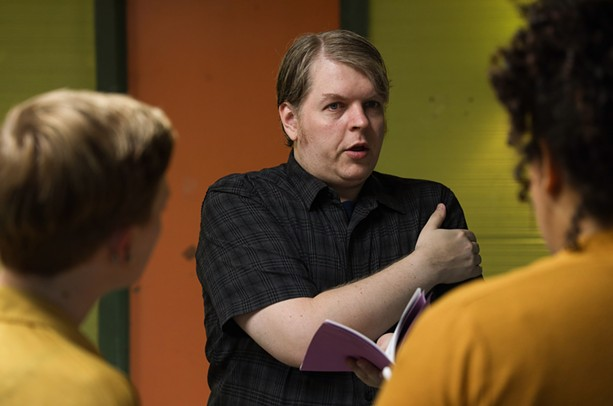 """Rielly directs a rehearsal for Mark Ravenhill's play """"Ghost Story,"""" which is being performed Sept. 14 and 20, 2021 at the MuCCC as part of the Rochester Fringe Festival. - PHOTO BY MAX SCHULTE / WXXI NEWS"""