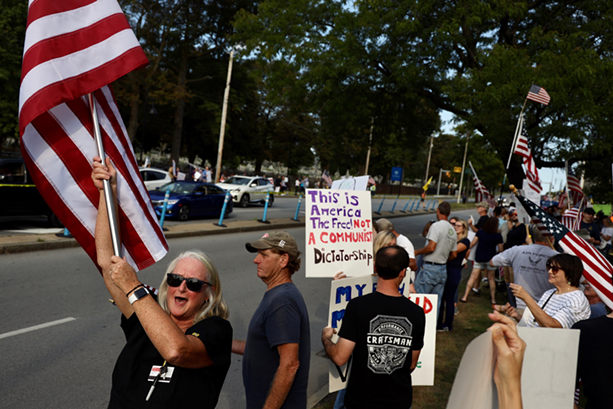 Hundreds of health care workers and their supporters demonstrated outside Strong Memorial Hospital on Monday, Sept. 13, 2021, in protest of a state vaccine mandate.