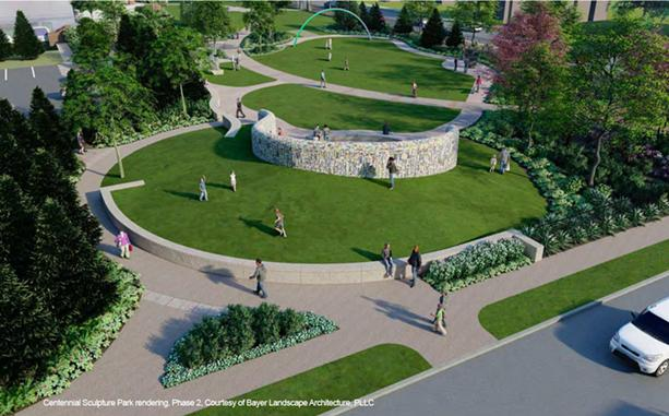 Two new sculptural works by Rashid Johnson (foreground) and Pia Camil (background) pictured will be installed on the southwest lawn of the Memorial Art Gallery in 2022. - IMAGE COURTESY BAYER LANDSCAPE ARCHITECTURE, PLLC.