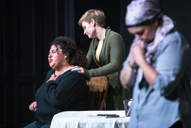 """Chanelle Davis, Jane Farrell, and Andrea Daszkiewicz portray three women grappling with disease and death in """"Ghost Story,"""" presented by Aspie Works at The MuCCC for the 2021 Rochester Fringe. - PHOTO BY MATT BURKHARTT"""