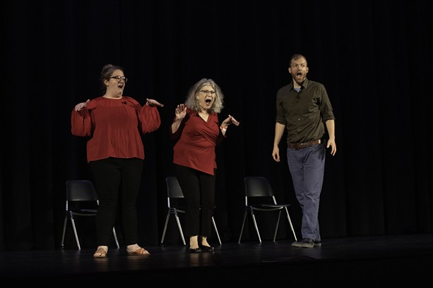 Cast members of the local troupe Unleashed! Improv perform at Rochester Fringe Festival on Sept. 15, 2021. - PHOTO BY ASHLEIGH DESKINS