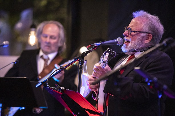 """Steve Piper and Tom Whitmore of Watkins & the Rapiers play a song as part of Rochester fringe Festival's """"Singing Serling"""" on Sept. 22, 2021. - PHOTO BY MATT BURKHARTT"""