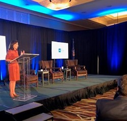 Gov. Kathy Hochul addresses the state's Business Council at the Sagamore Resort in Bolton Landing on Friday, Sept. 24, 2021. - PHOTO COURTESY  KAREN DEWITT / NEW YORK STATE PUBLIC RADIO