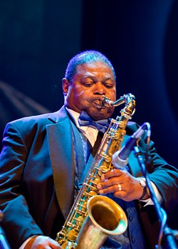 Legendary saxophonist-composer-arranger Pee Wee Ellis performing at the 2016 Rochester Music Hall of Fame induction ceremony. - PHOTO BY JIM DOLAN