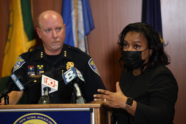 Interim Rochester Police Chief Cynthia Herriott-Sullivan, right, said Wednesday that she will resign next week. Deputy Chief of Operations David Smith, left, will take over as interim chief. - PHOTO BY MAX SCHULTE