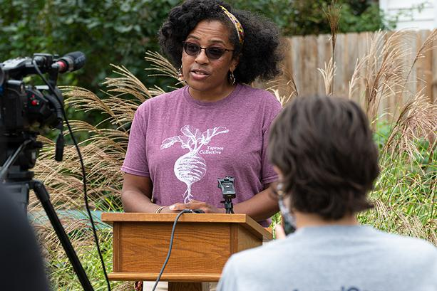 Leslie Knox, chair of Taproot Collective's board, believe the grant announced Wednesday, Oct. 6, will give neighbors long-term rights to the garden properties. - PHOTO BY JACOB WALSH
