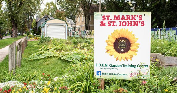 This community garden on Denver Street, about a block off of Parsells Avenue, is one of six in the Beechwood neighborhood operated by St. Mark's and St. John's Episcopal Church. - PHOTO BY JACOB WALSH
