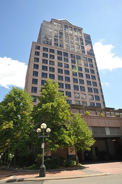 A group of Rochester business leaders propose locating the new photonics institute headquarters in Legacy Tower, which formerly housed Bausch + Lomb offices. - PHOTO BY JEREMY MOULE