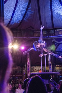 """A contortionist performs in """"Cabinet of Wonders"""" inside of the Spiegeltent during the 2015 Rochester Fringe Festival. - PHOTO BY MARK CHAMBERLIN"""