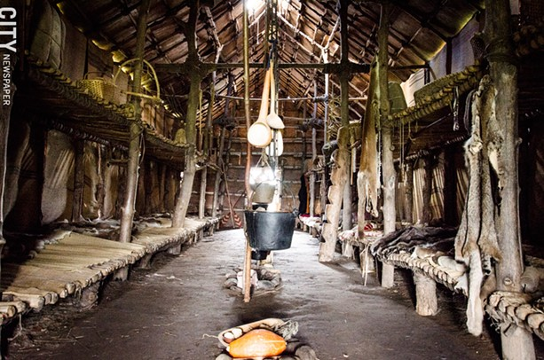 Inside the longhouse at Ganondagan. - PHOTO BY MARK CHAMBERLIN