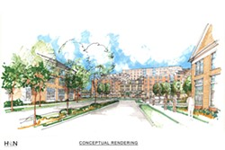 A rendering of part of the project site. - SUBMITTED BY MORGAN COMMUNITIES
